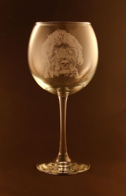New! Etched Portuguese Water Dog on Large Elegant Wine Glasses - Set of 2