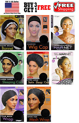 Women Satin Braid Bonnet, Wig Cap, Large / XL Satin Sleeping Cap Hair Net, Wrap