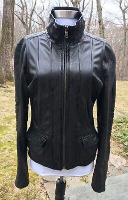 $375+ Koc Leather Zip Front Moto Jacket, Black, Women's Large L Best