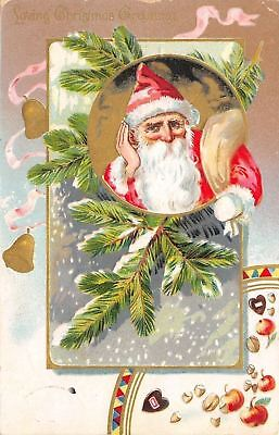 Christmas~Santa Claus Listens~Candy Nuts Apples Pour~Gold Leaf - Gold Candy Apples