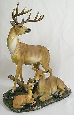 WHITE TAIL DEER FAMILY STATUE Buck Doe Fawn Desktop Figurine NEW Resin Wildlife