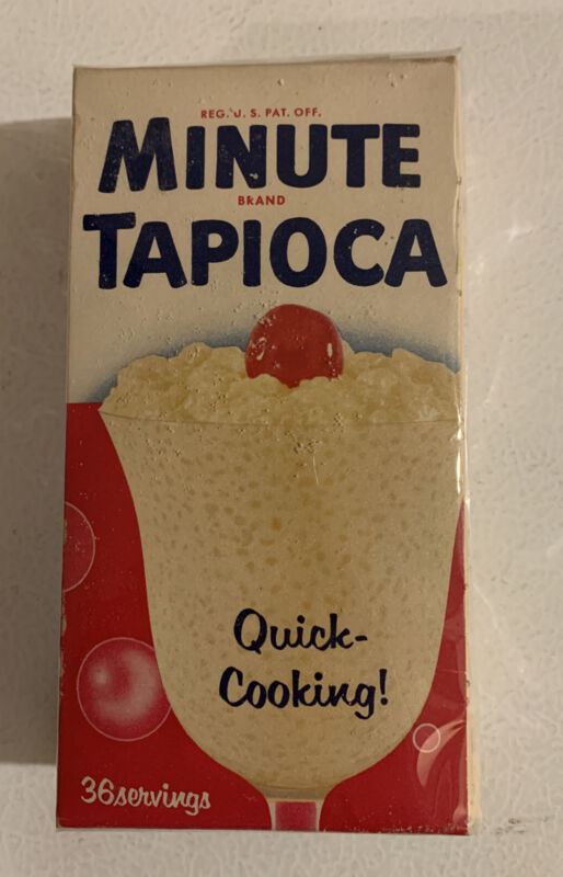 1940s Box Of Minute Brand Quick Cooking Pudding NOS Leaking Beautiful Display