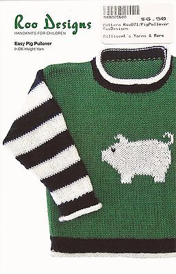 Roo Designs Easy Pig Pullover Sweater KNITTING PATTERN Uses DK Yarn for 6mo-4yrs
