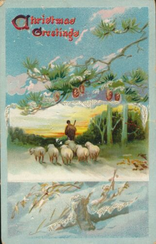 1910 Raphael Tuck Shepherd & Sheep Embossed Christmas Postcard
