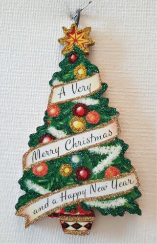 DCORATED TREE, MERRY & HAPPY NEW YEAR  * Glitter  CHRISTMAS ORNAMENT * Vtg Img