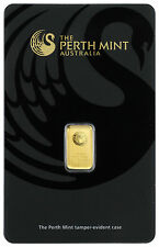 Perth Mint 1 Gram .9999 Gold Bar New Sealed With Assay Certificate SKU30269