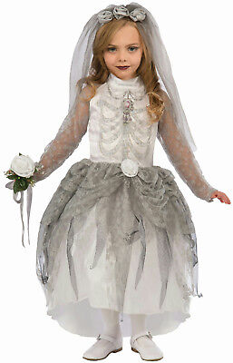 Forum Skeleton Bride Girl Child Costume Size Medium 8-10 - Skeleton Bride Costume
