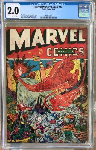 Marvel Mystery Comics #47 (1943) CGC 2.0 -- Alex Schomburg WWII war cover