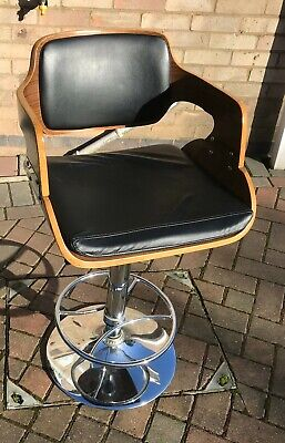 Wooden Faux Leather Swivel Stool Kitchen Breakfast Bar Pub Industrial Chair Used