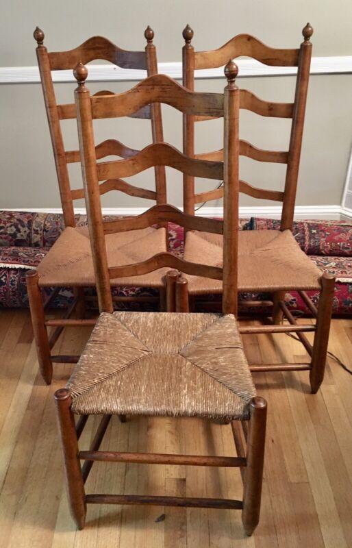 3 19th Century Ladder Back Chairs w/ Rush Seats