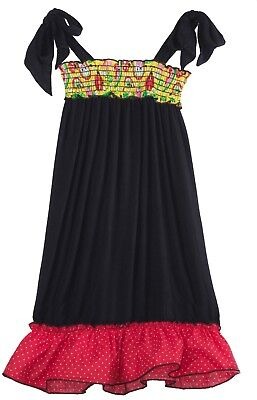 Bubblegum Divas Little Girls' Lady Bug Flower Black Casual Maxi Dress Polka Dot