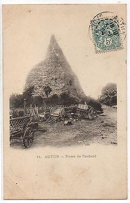 CPA 71 - AUTUN  (Saône et Loire) - 14. Pierre de Couhard (charettes dételées)