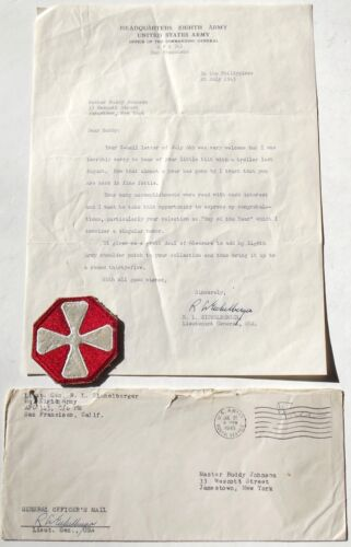 General Robert Eichelberger WW II Eight Army Signed Letter & Eight Army Patch