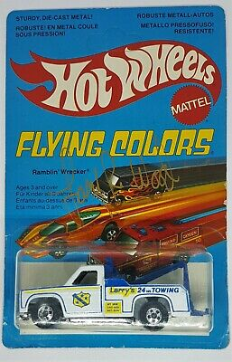 Hot Wheels 1979 Flying Colors Ramblin' Wrecker White BW Signed W/Protecto