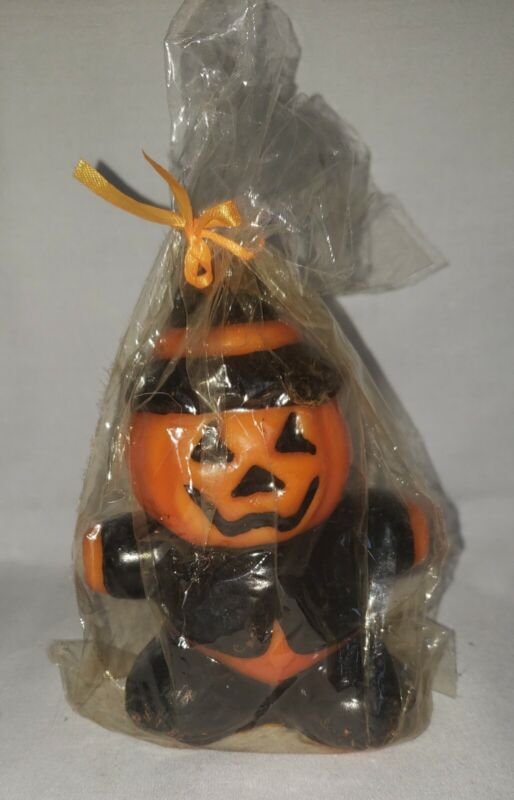 Vintage Halloween Pumpkin Jack O Lantern Candle