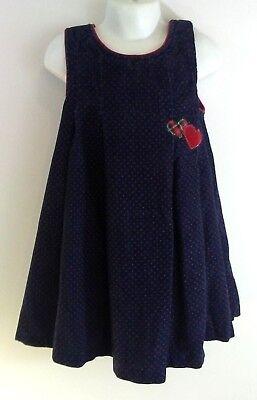 Samara Size 5 Girls Dress Dark Blue Red Kids Polka Dot Winter Warm (Red Polka Dot Dress Kids)