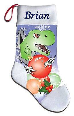 Embroidered Green Personalized Christmas Stockings - NEW Personalized TRex Dinosaur Christmas Stocking Embroidered