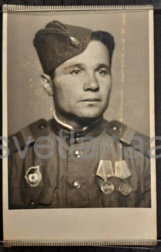 WWII WW2 Russian soldier Soviet Red Army ORDER Military man Cap original photo