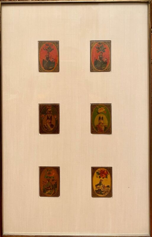 (6) 19th Polychrome As-Nas Persian Playing Cards. Two Portrait Of Qajar Kings.