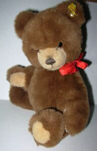 Steiff-Petsy-Teddy-Bear-Jointed-Plush-Stuffed-Animal-012556-Brown-Red-Bow