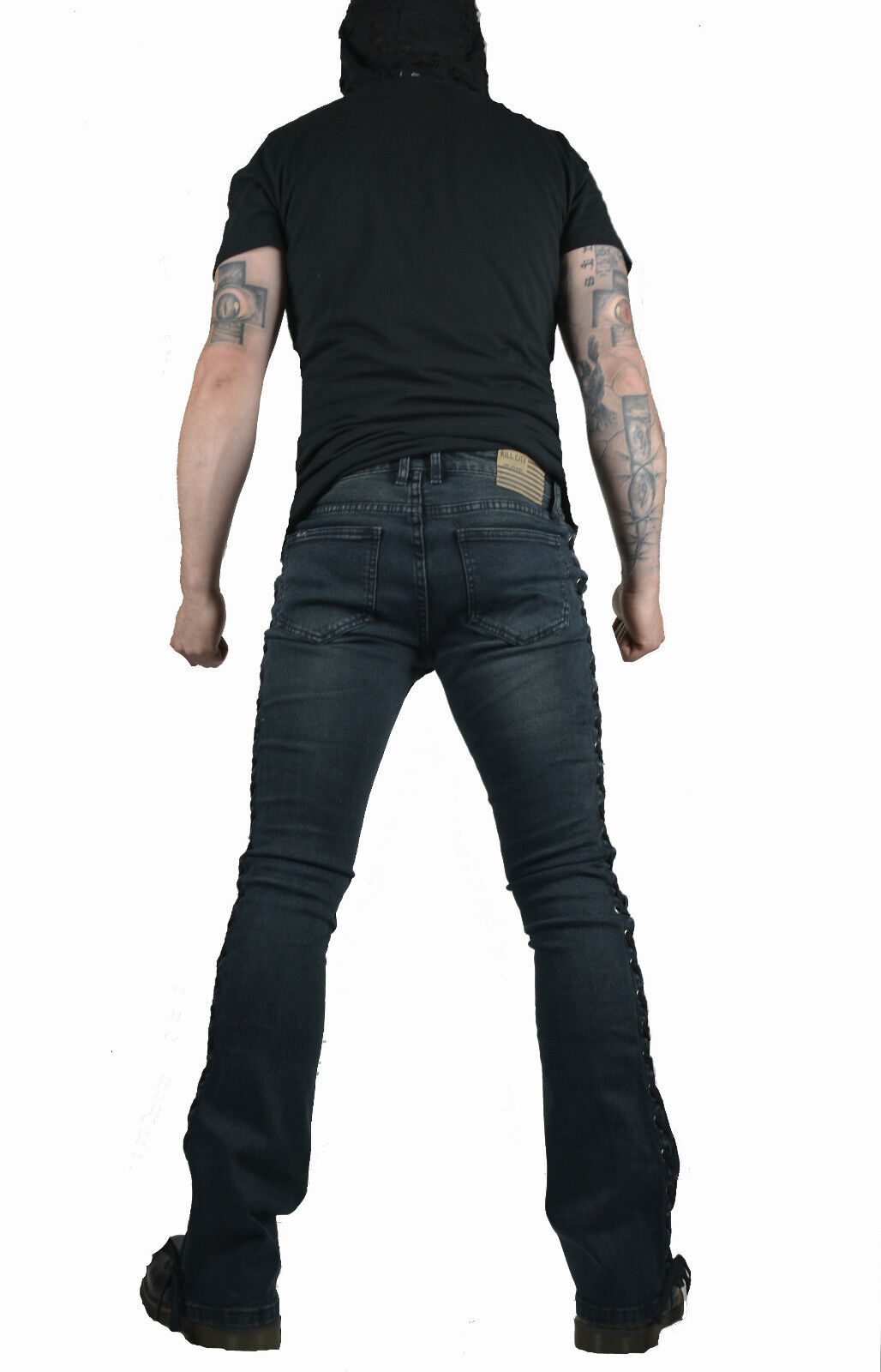 KILL CITY LACE UP ROCKER FIT RIFF BOOT CUT GOTHIC PUNK STAGE JEANS PANTS BIKER Clothing, Shoes & Accessories