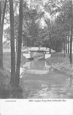 Coffeyville Kansas Lagoon Forest Park 1905 Postcard