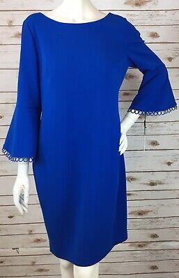 Calvin Klein Formal Dress Royal Blue Womens 14W Sheath Bell-Sleeves w/Trim NEW