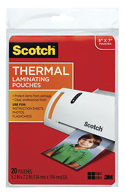 Scotch Thermal Laminating Pouch 5 X 7 Inches 5 Mil Thick Pack Of 20