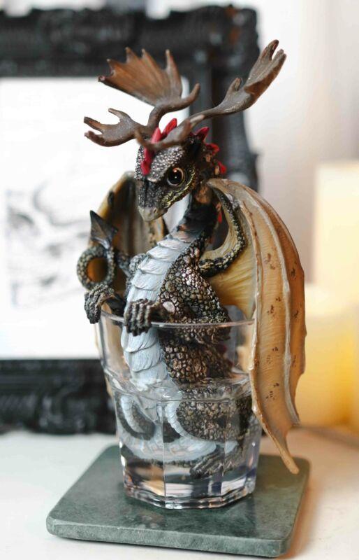 Cocktail Spirit Drunken Vodka Elk Moose Dragon Statue Fantasy Decor Figurine