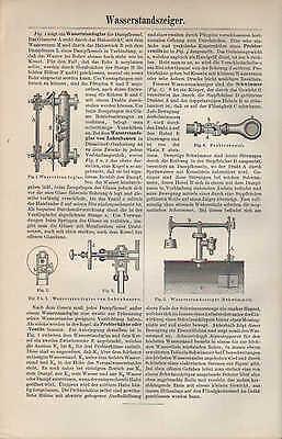 Druck 1897: WASSERSTANDSZEIGER. WASSERSÄULENMASCHINEN.