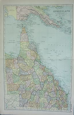 1912 LARGE ANTIQUE MAP ~ AUSTRALIA ~ QUEENSLAND