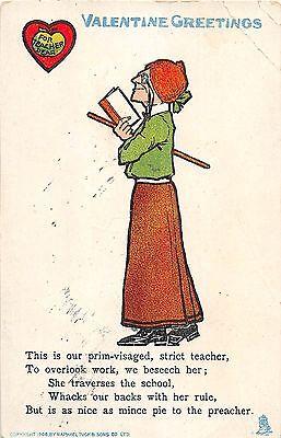 C2/ Valentine's Day Love Holiday 2 Postcards 1908 Teacher School Miss Cat (Teacher 2 Postcards)