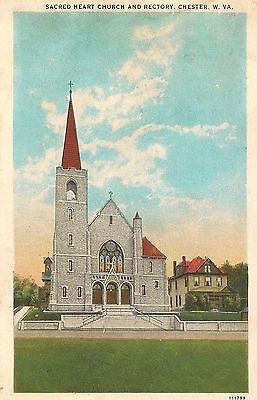 Sacred Heart Church and Rectory Chester WV Postcard