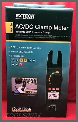 Extech Ma160 Acdc Clamp Meter - True Rms 200a Open Jaw Clamp -