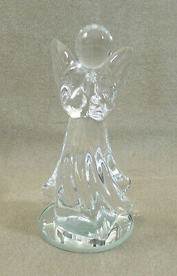 Vintage Clear Art Glass - Praying Angel Figurine - Statue 3 ¾  inches tall ()