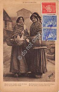 Cartolina-Postcard-L-039-Auvergne-femmes-en-Costume-1942