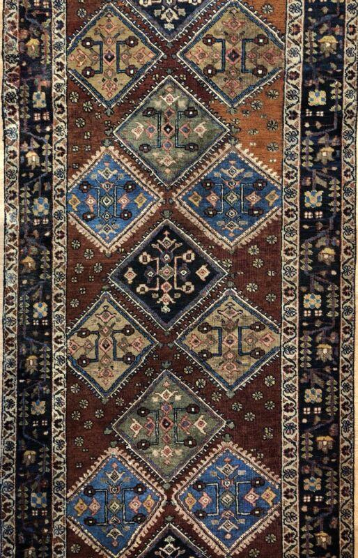 Amazing Azerbaijani - 1910s Antique Tribal Rug - Kazak Runner Carpet 2.10 X 8.2