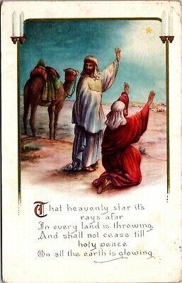 MERRY CHRISTMAS - Men Jesus Religious Postcard - Vintage - WHITNEY MADE USA ()