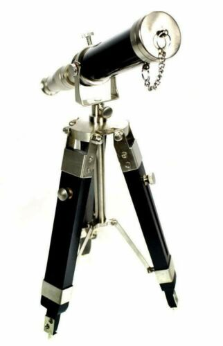 Handmade Solid Brass Nautical Telescopes Chrome & Black With Wooden Tripod Power