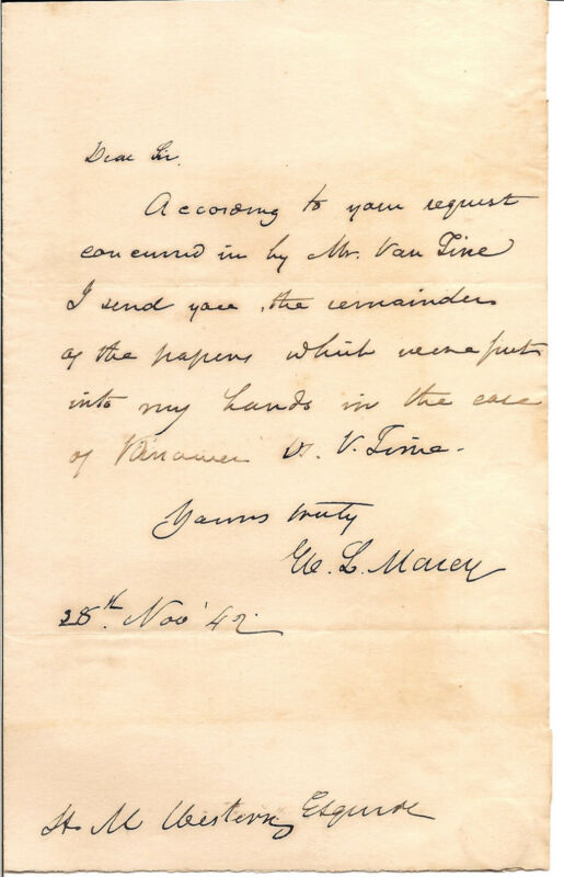 William L. Marcy Handwritten Letter Signed in 1842 w/ COA