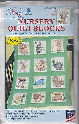 "1 Jack Dempsey ""Forest Friends"" Stamped Embroidery/Cross stitch Quilt Blocks"