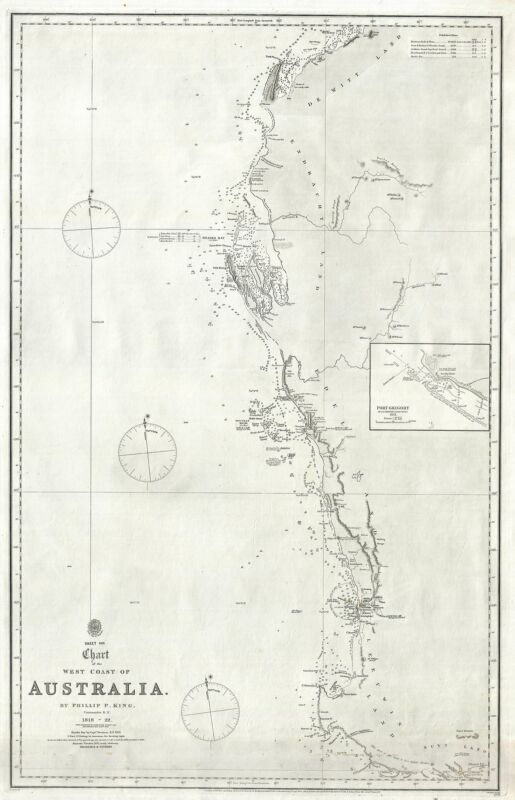 1872 Phillip King Admiralty Chart or Map of Western Australia (Perth)