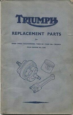 Triumph Illustrated Parts List for Triumph Motor Cycles 5T 6T TR5 T100 1952-53