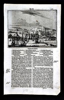 c. 1673 Montanus Print - Dutch & Portuguese Ships Naval Battle Tamandare Brazil