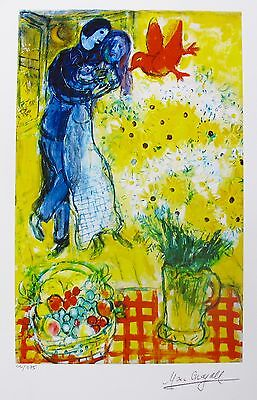 MARC CHAGALL LOVERS AND DAISIES Facsimile Signed Limited Edition Art Giclee