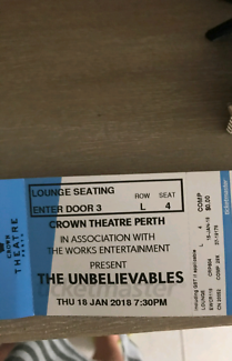 2 x The Unbelievables tickets at Crown theatre 18/1