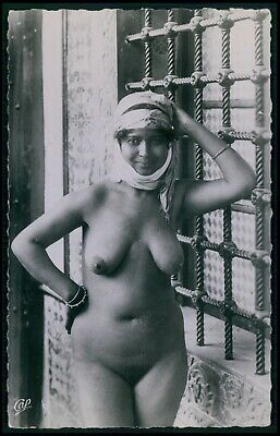 gg North Africa arab nude woman original c1930-1950s old RPPC photo postcard