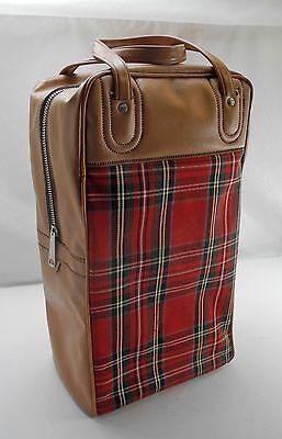 Vintage Tan/Red Plaid Thermos Picnic/Travel Set:Thermos,Sandwich Box,Zip Top Bag
