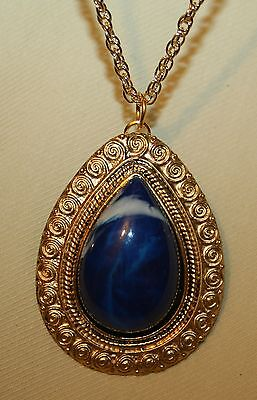 Blue Spirals Teardrop Pendant (Handsome Spiral Etch Teardrop Rim Marbled Medium Blue Goldtone Pendant)