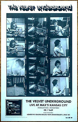 THE VELVET UNDERGROUND Live At Max's 45th Anniversary Ltd Ed RARE Poster Display